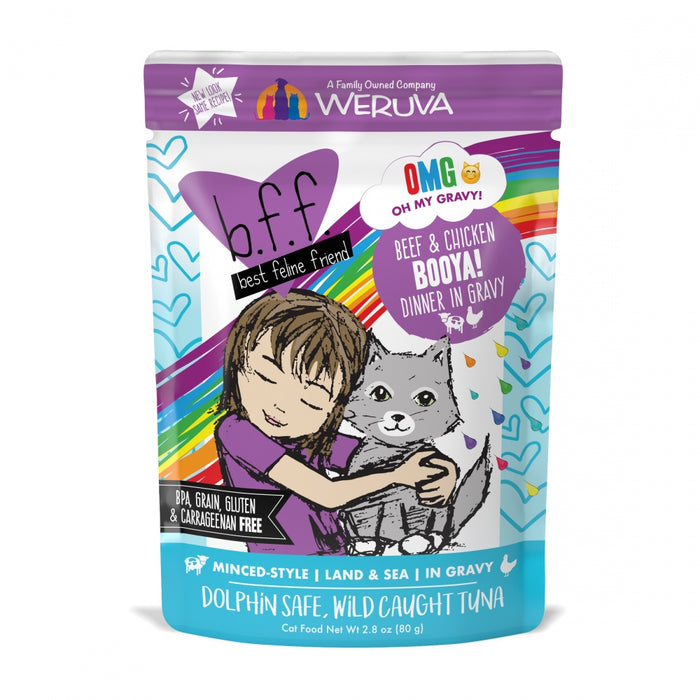 Weruva BFF Oh My Gravy Booya Grain Free Beef & Chicken in Gravy Cat Food Pouch