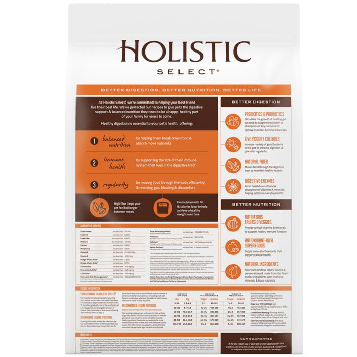 Holistic Select Natural Grain Free Chicken Meal and Pea Weight Management Dry Dog Food