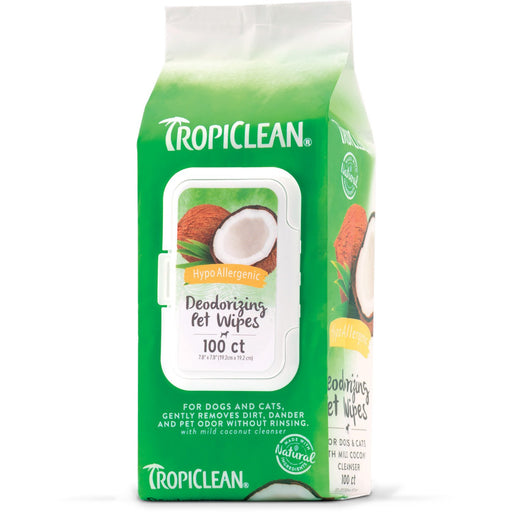 TropiClean Hypo Allergenic Deodorizing Bath Wipes for Dogs and Cats