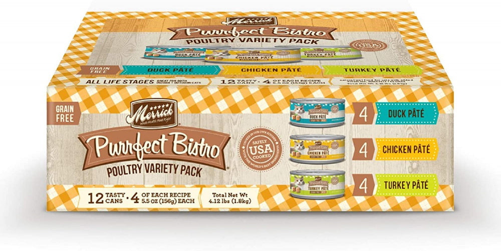 Merrick Purrfect Bistro Grain Free Poultry Variety Pack Canned Cat Food