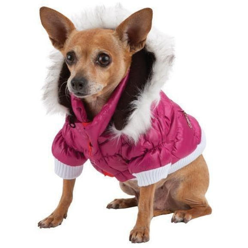 Pet Life Metallic Pink Fashion Parka Insulated Dog Coat with Removable Hood