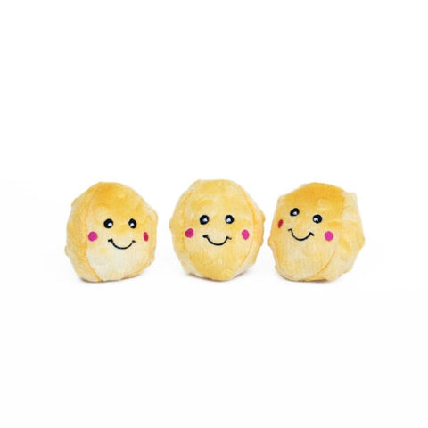 ZippyPaws Miniz Popcorns 3-Pack Plush Dog Toys