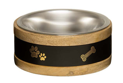 Loving Pets Black Label Wooden Ring Dog Bowl