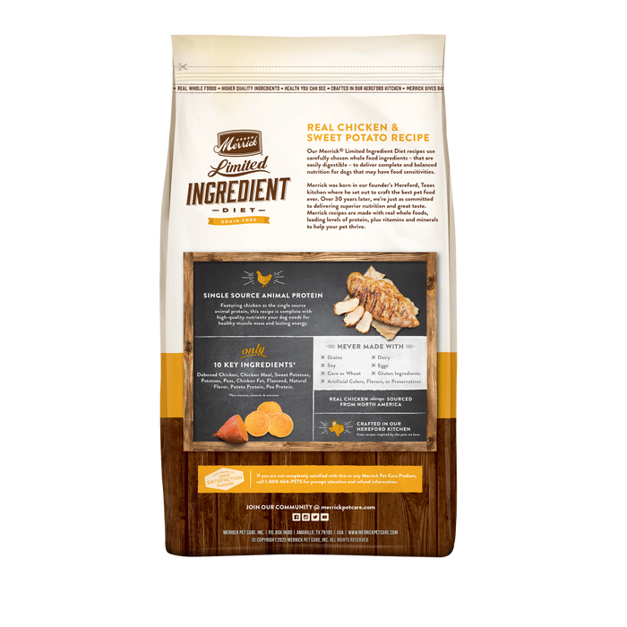 Merrick Limited Ingredient Diet Grain Free Real Chicken & Sweet Potato Recipe Dry Dog Food