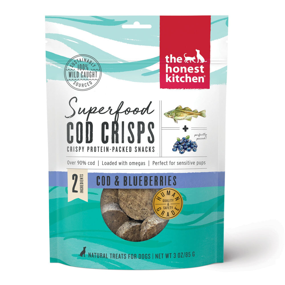 The Honest Kitchen Superfood Cod Crisps Cod & Blueberry Natural Dog Treats
