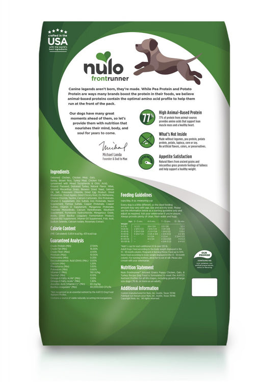Nulo Frontrunner Chicken, Oats & Turkey Puppy Dry Dog Food