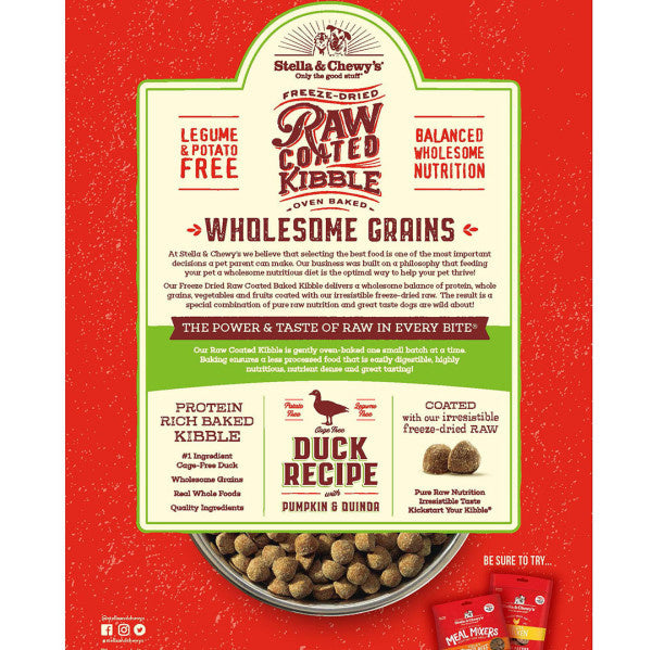 Stella & Chewy's Raw Coated Kibble With Wholesome Grains Cage Free Duck Recipe Dry Dog Food