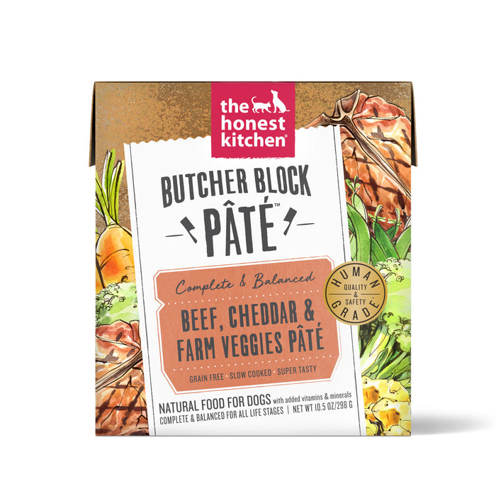 The Honest Kitchen Butcher Block Pate Beef, Cheddar & Farm Veggies Grain Free Recipe for Dogs