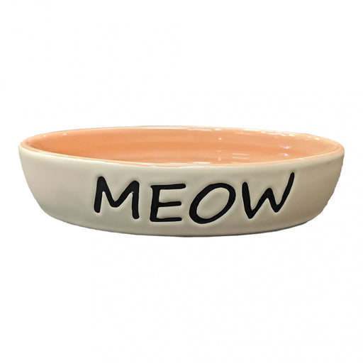 Ethical Pet Meow Oval Cat Dish Coral