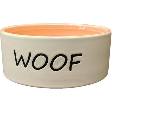 Ethical Pet Woof Dog Dish Coral