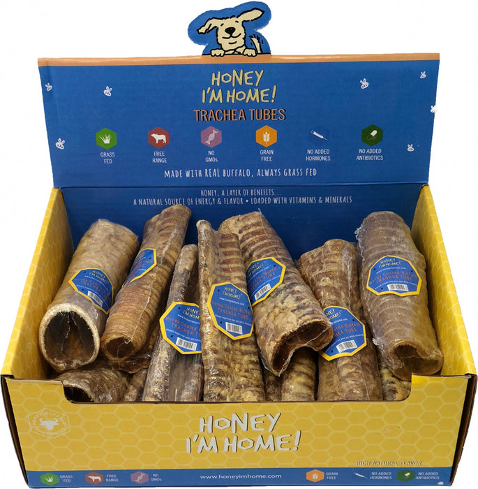 Honey I'm Home Natural Honey Coated Trachea Tubes Buffalo Dog Chews
