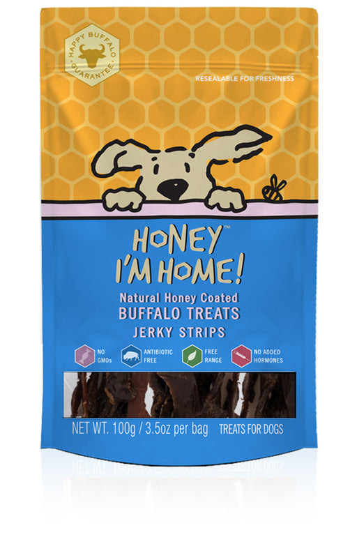 Honey I'm Home Natural Honey Coated Jerky Strips Buffalo Dog Treats