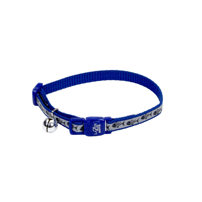 Lazer Brite® Reflective Adjustable Breakaway Cat Collar, Blue or Red