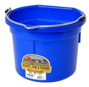8 Quart Flat Back Plastic Bucket, Assorted