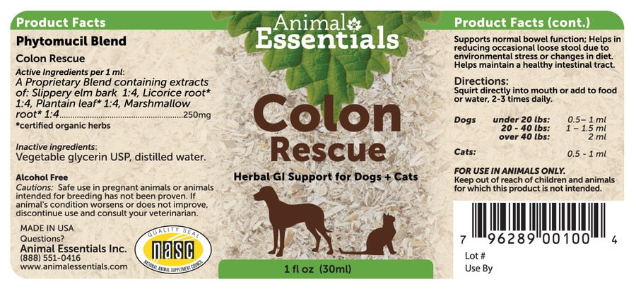 Animal Essentials® Colon Rescue Herbal GL Support for Cat & Dog 1 Oz