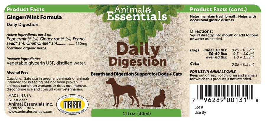 Animal Essentials® Ginger/Mint Daily Digestion for Cat & Dog 1 Oz