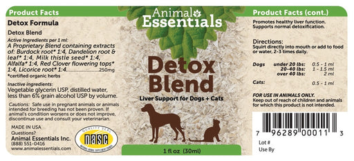Animal Essentials® Detox Blend Liver Support for Cat & Dog 1 Oz
