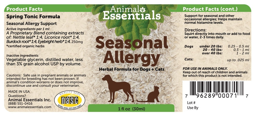 Animal Essentials® Seasonal Allergy Support Herbal Formula for Cat & Dog 2 Oz