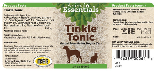 Animal Essentials® Tinkle Tonic Herbal Formula for Cat & Dog 1 Oz