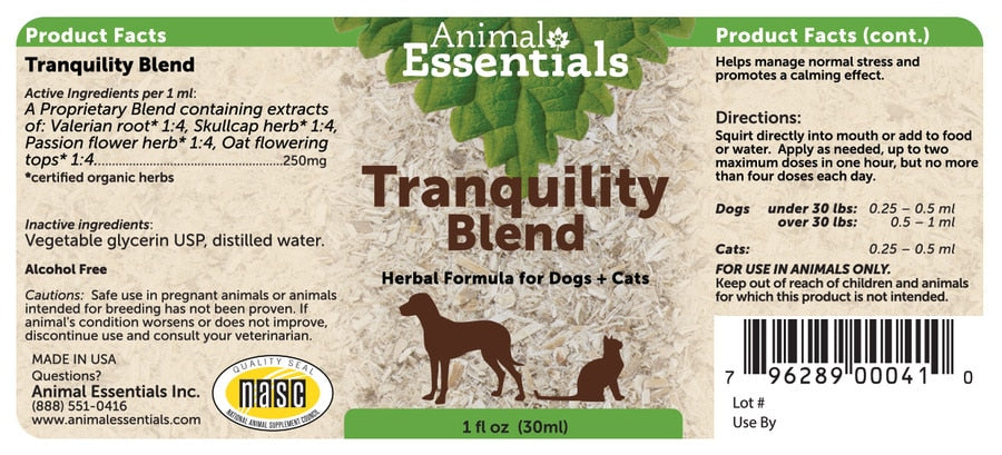 Animal Essentials® Tranquility Blend Herbal Formula for Cat & Dog 2 Oz