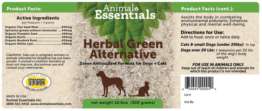 Animal Essentials® Herbal Green Alternative Antioxidant Formula for Cat & Dog 300 Gm