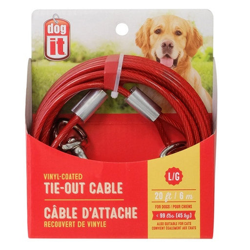 Large- 20 ft/25 ft/30 ft, Red Tie Out Cables