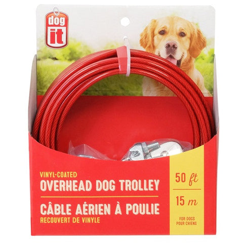 50 ft, Overhead Dog Trolley, Red