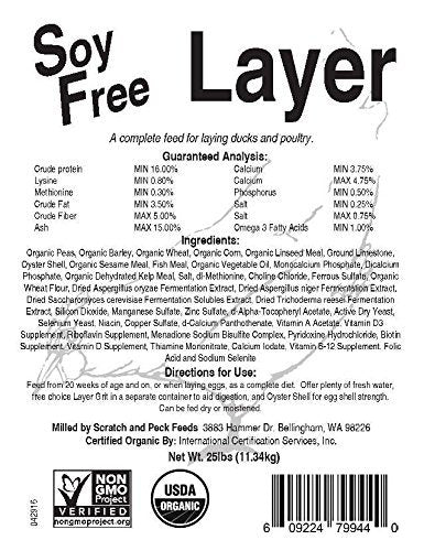 Organic Layer Feed for Chickens and Ducks, 25lbs, Non-GMO Project Verified, Always Soy Free