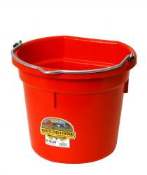 20 Quart Flat Back Plastic Bucket, Red