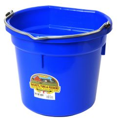 20 Quart Flat Back Plastic Bucket, Blue
