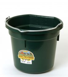 20 Quart Flat Back Plastic Bucket, Dark Green