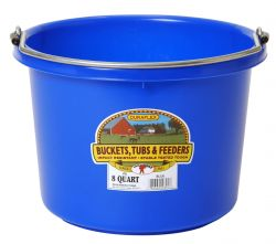 8 Quart Flat Back Plastic Bucket, Blue & Dark Green