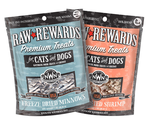 Raw Rewards Freeze Dried Treats for Dogs & Cats, 1 oz, Minnows or Shrimp