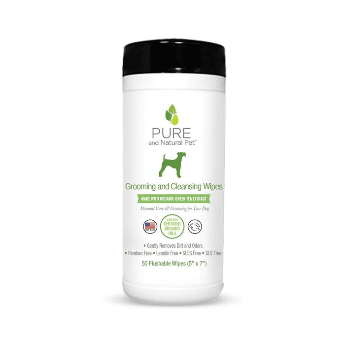 Grooming & Cleansing Wipes, Green Tea, Flushable