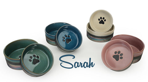 Sarah, Metallic Pet Bowl, Assorted, 6 ""