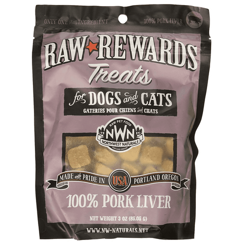 Raw Rewards Freeze Dried Treats for Dogs & Cats, 3 oz, Whitefish or Pork Liver