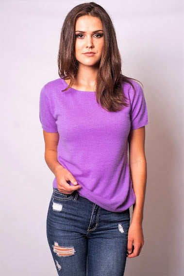 Lilac Allure Cashmere Short Sleeve Top