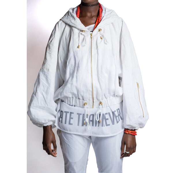 Spliced Linen Windbreaker