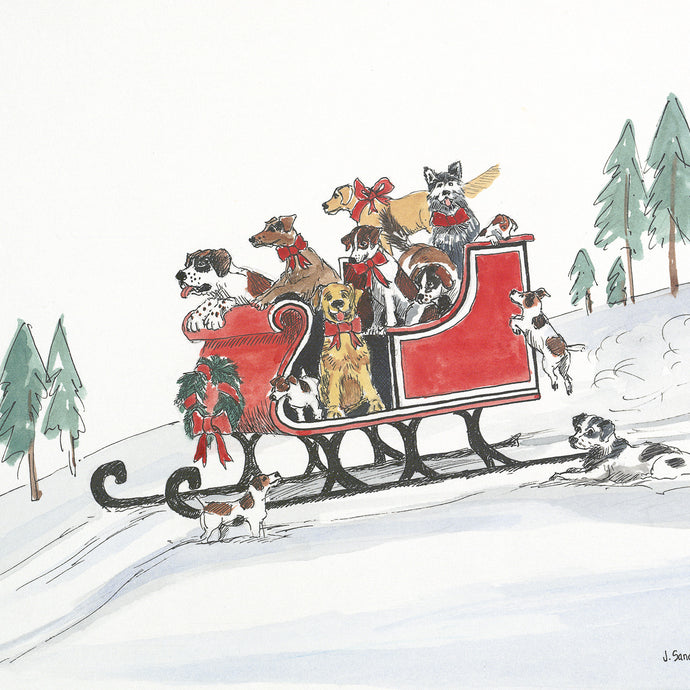 Dogs in Sleigh<br>Christmas Card #H16