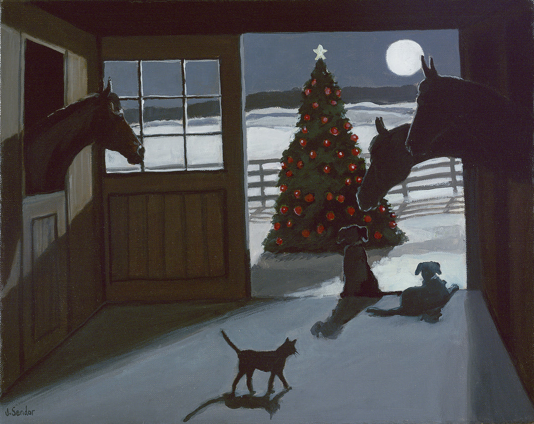 Nighttime in the Barn<br>Christmas Card #H20
