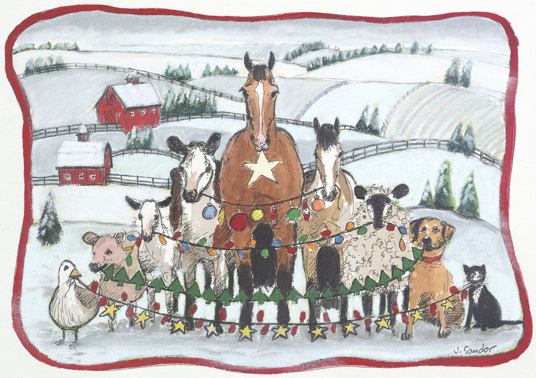Barnyard Animals<br>Christmas Card #H44