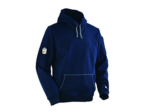Ergodyne CORE Performance Work Wear 7440 Flame-Resistant Outer Layer Pullover Hooded Fleece Sweatshirt, Navy, Large