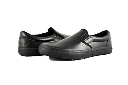 Townforst Womens Slip and Oil Resistant Black Leather Slip On Waitress Shoes 12