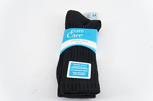 PureCare® Diabetic Relief Crew Socks (6-12, Black)