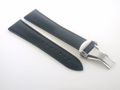 Deployment Leather Strap Band for 20mm Omega Seamaster Black #20