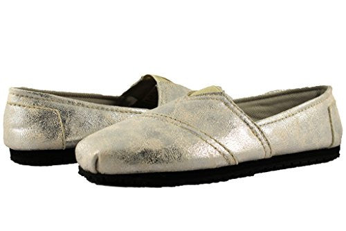 Townforst Womens Jess PU Slip Resistant Slip On Shoes Silver 11
