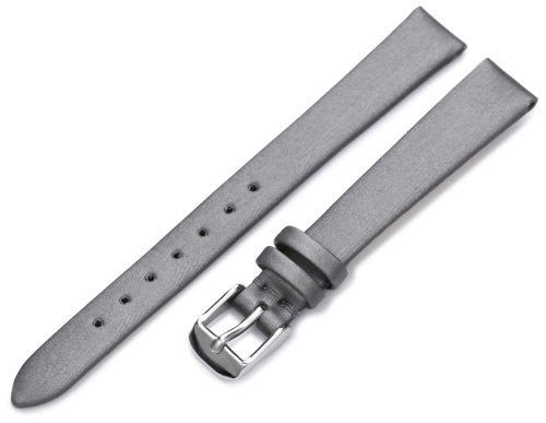 Hadley-Roma Women's LSL978RW 120 12-mm Silver Satin Grained Leather Watch Strap