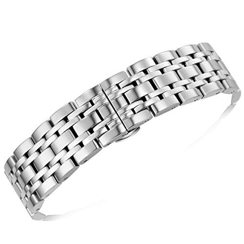 16mm Ladies' High-end Metal Watch Bands Straps Solid 316L Stainless Steel Straight End Jubilee Style