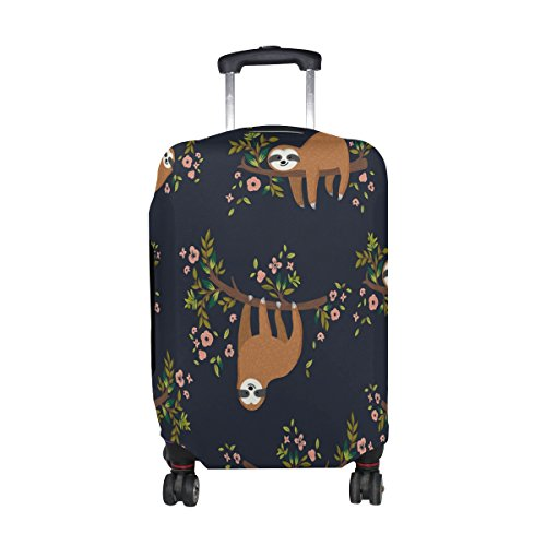ALAZA Funny Sloth Tree Floral Travel Luggage Cover Suitcase 23-26 Inch