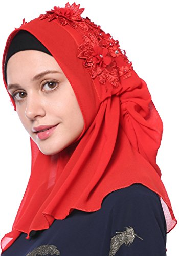 YI HENG MEI Women's Modest Muslim Islamic Soft 3D Flower Rhinestones Wedding Hijab with Buttons,Red